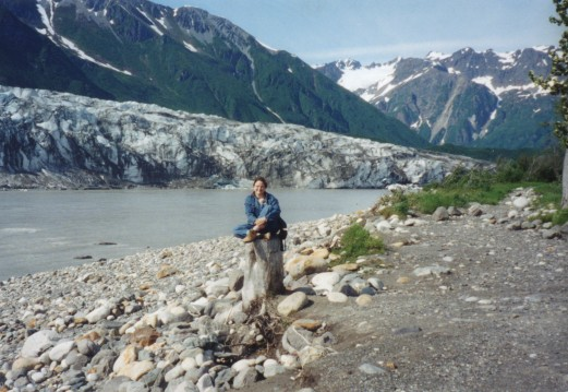 Me in front of Child's Glacier, that's the Copper River behind me.