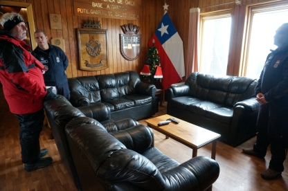 The living area in the bunk house at the Chilean station